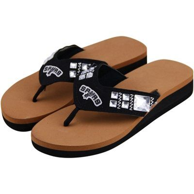 077341433620 San Antonio Spurs Ladies Wedge Jewel Flip Flops - Black