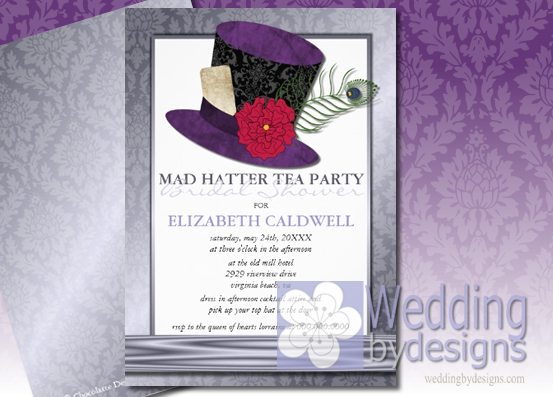 wedding invitations bridal shower invitations save the date announcements mad hatter tea party bridal shower ideas madhatter aliceinwonderland