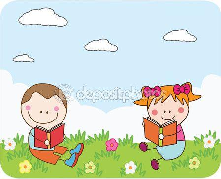 Niños leyendo libros en Parque — Vector de stock © redrockerz99 #71288263