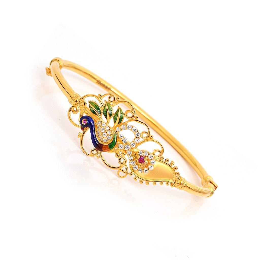 22 kt peacock style bracelet grt jewellers bridal. Black Bedroom Furniture Sets. Home Design Ideas
