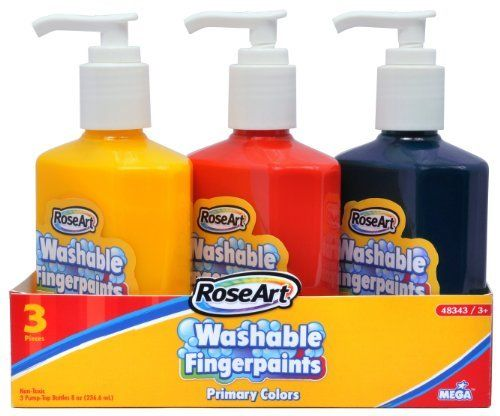 RoseArt 8-Ounce Pump Top Finger Paints, 3-Pack, Assorted Colors (48343UA-8) by Rose Art. $8.88. Prepare for hours of painting fun with a 3-count of amazing pump-top finger paints! Washable, vibrant, easy-to-spread primary colors (red, blue, and yellow). Pump top helps reduce waste and messy clean-ups, while keeping the paint fresher for a longer period of time.