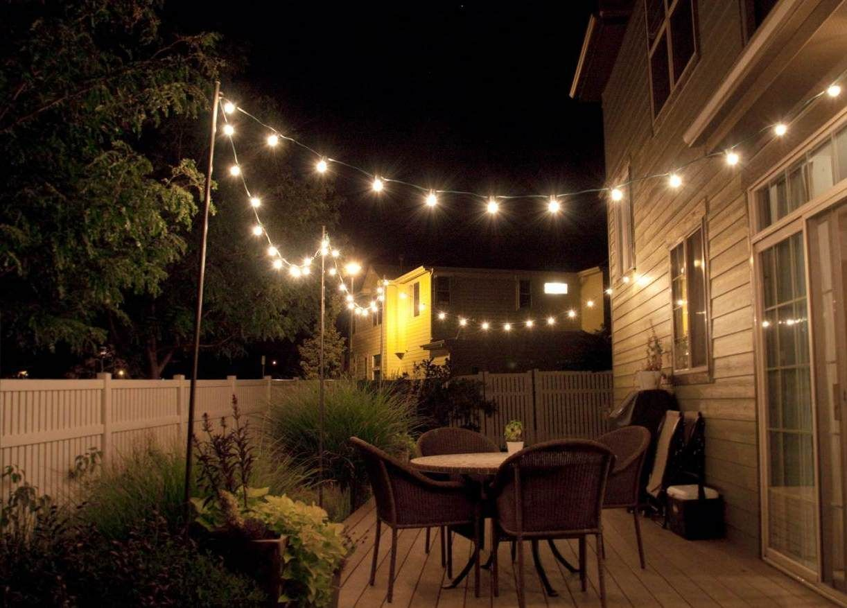 String Lighting Idea For Outdoor Deck  Home sweet home in 2019  Patio lighting Patio string