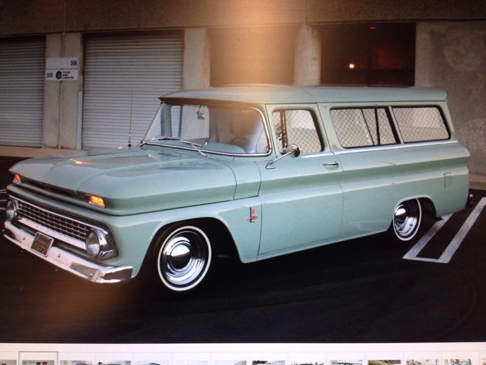 1963 Chevy Suburban On Thin White Walls Chrome Rims Baby Moons Chevy Suburban Classic Chevy Trucks Panel Truck