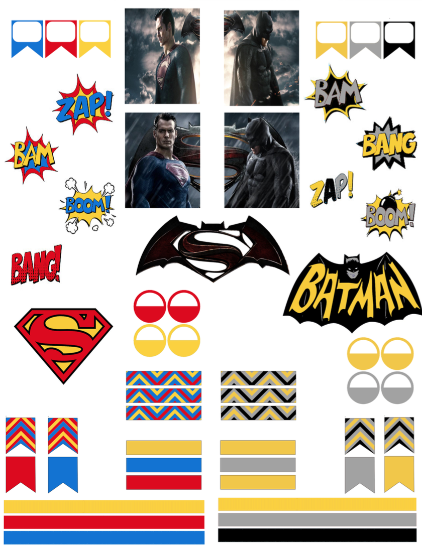 Batman vs superman free printable planner stickers