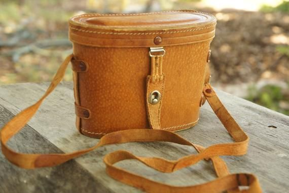 Nice Vintage Swiss Made Kern Aarau Brown Leather Binoculars Case Medium Homa Binocular Cases & Accessories