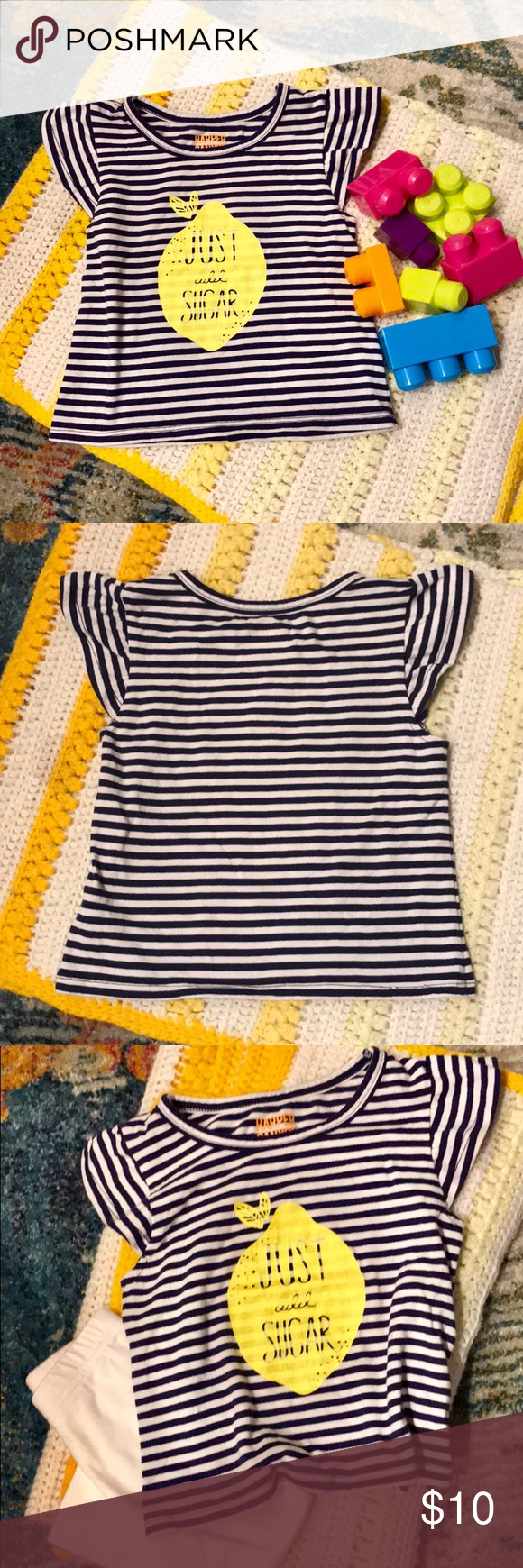 Just Add Sugar 2T Navy Stripe W/ Lemon Print Tee Lemon