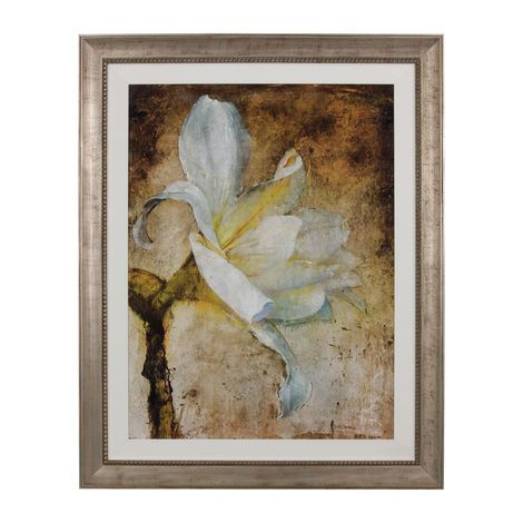 The classic beauty of this grandly scaled botanical reproduction print is set under glass and is accentuated by a gentle sloping solid wood liner covered in a soft ivory white fabric. The muted, aged silver finish of the beaded-lip frame is a modern complement to the image