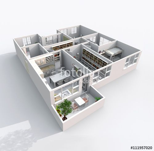 3d Interior Rendering Oblique View Of Furnished Home Apartment With Balcony Room Bathroom Entrance DoorsKitchen Living