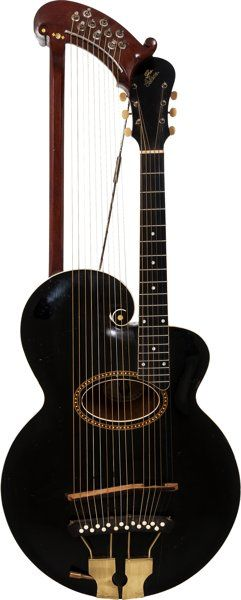 53b5b8ac51 Musical Instruments:Acoustic Guitars, Early 1920's Gibson Style U Harp  Black Archtop Acoustic Guitar.