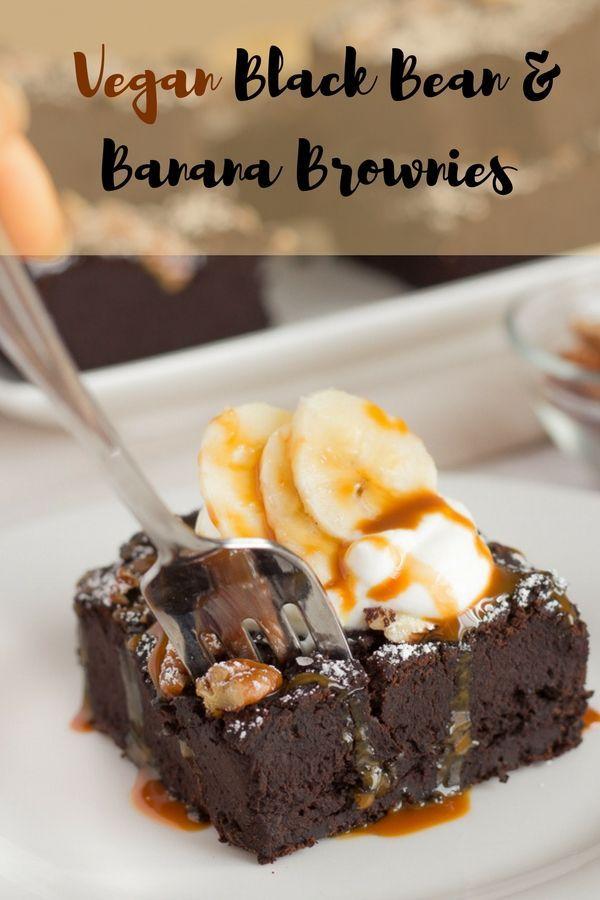 Vegane Brownies mit schwarzen Bohnen und Banane | Gesunde Brownies ohne Zucker