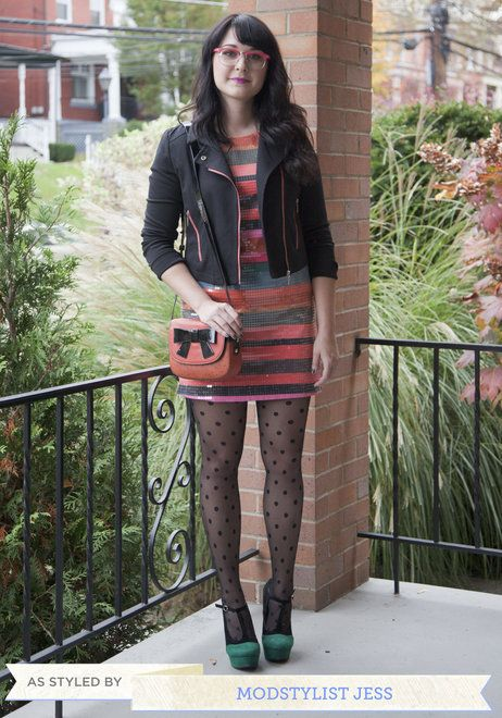 Add edge to a holiday ensemble with a cool moto jacket.