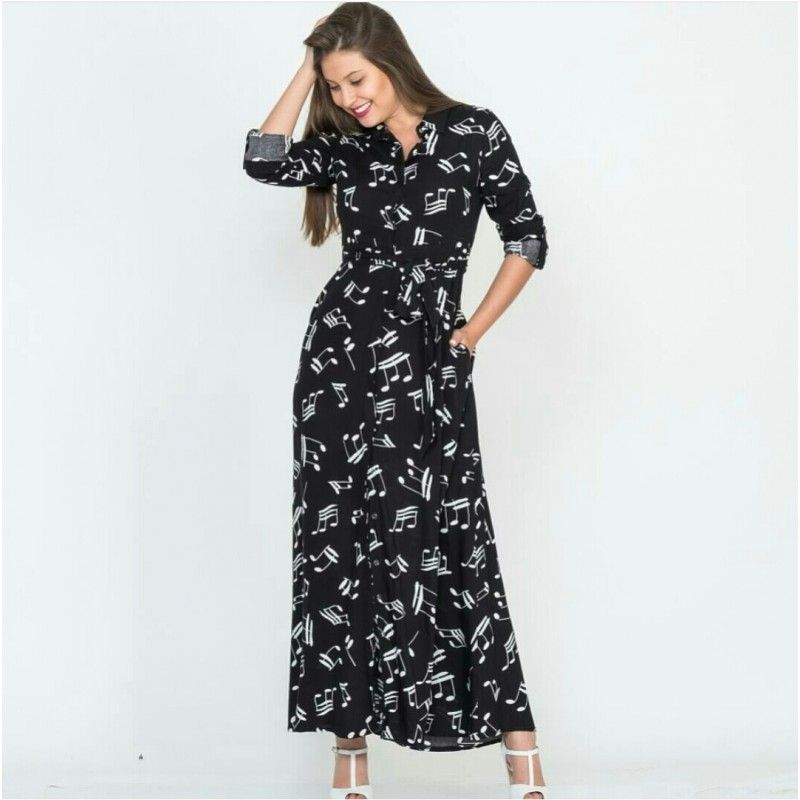 Kadin Siyah Nota Desenli Viskon Uzun Gomlek Elbise Elbise Giyim Gomlek Elbise