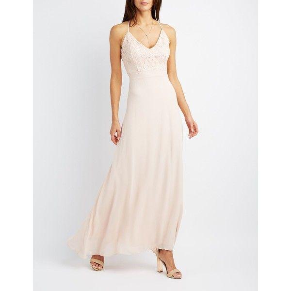 Charlotte Russe Lace & Chiffon Strappy Maxi Dress ($9.99) ❤ liked ...