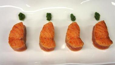 Dos de saumon mariné, fraicheur de concombre à la menthe d'Alain Senderens