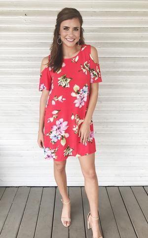 e21d1379a1c Carolina-Red. Red floral print cold shoulder shift dress with nude heels.  Red floral print dress. Cold shoulder dress. Dress with heels. Summer dress.