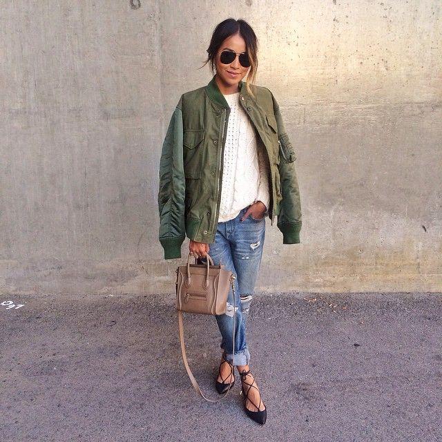 avec quoi porter un bomber kaki ? | mode femme 2016 | pinterest