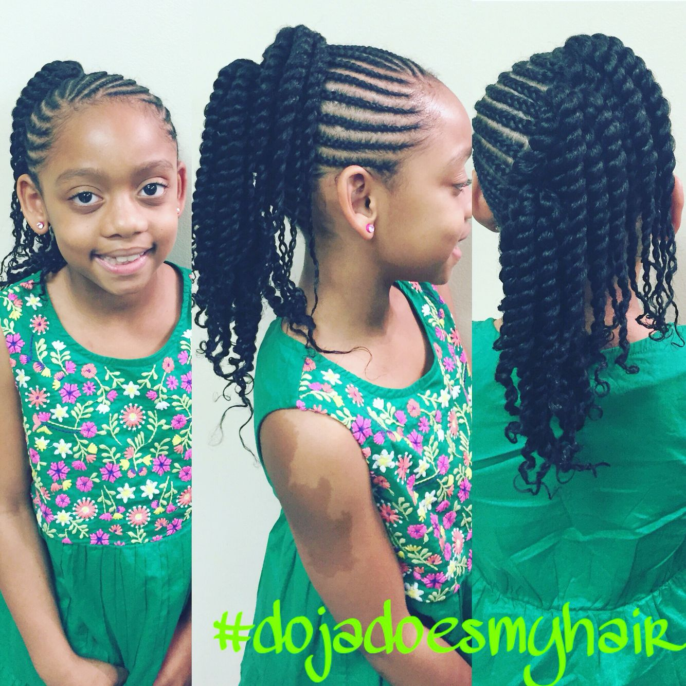 Beautiful Style Protective Style For Long And Curly Natural Hair Braids Into Two Ponytails And Natural Hair Braids Curly Hair Styles Naturally Hair Styles