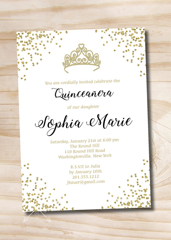 photograph relating to Printable Quinceanera Invitations titled Gold Glitter Tiara Crown Quinceanera Quince Adorable 16