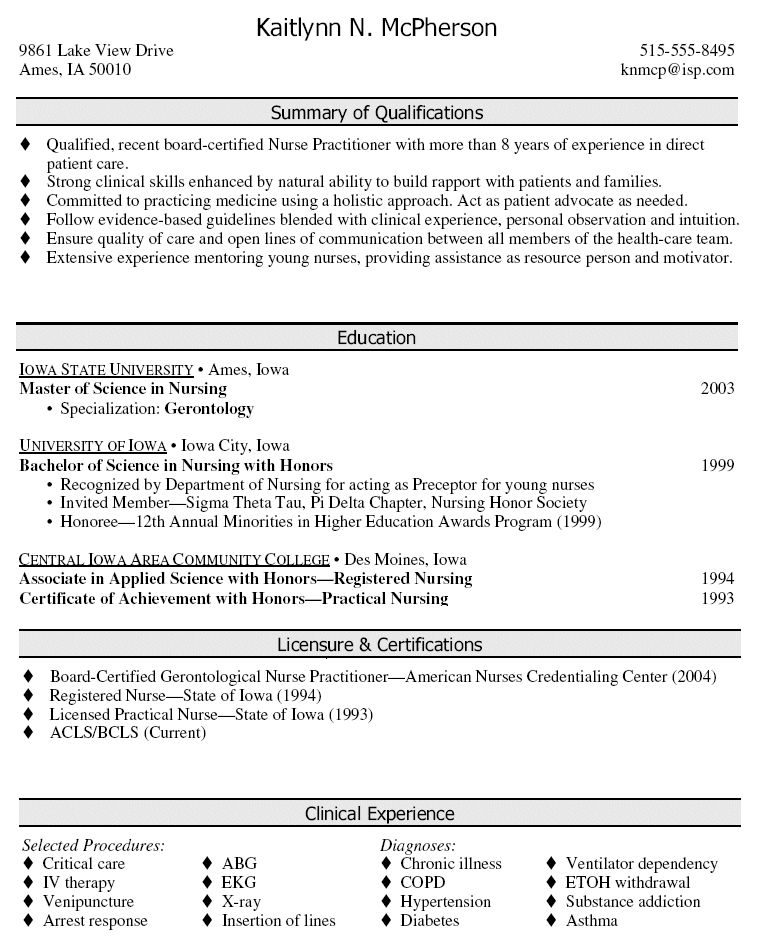 Inspiring Cv Template For Nurse Practitioner Gallery