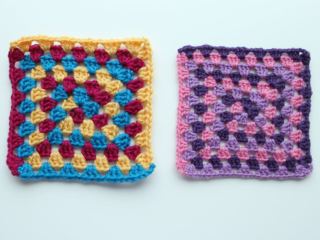 Granny square with spiral colour change - Crochet tutorial. Step by ...