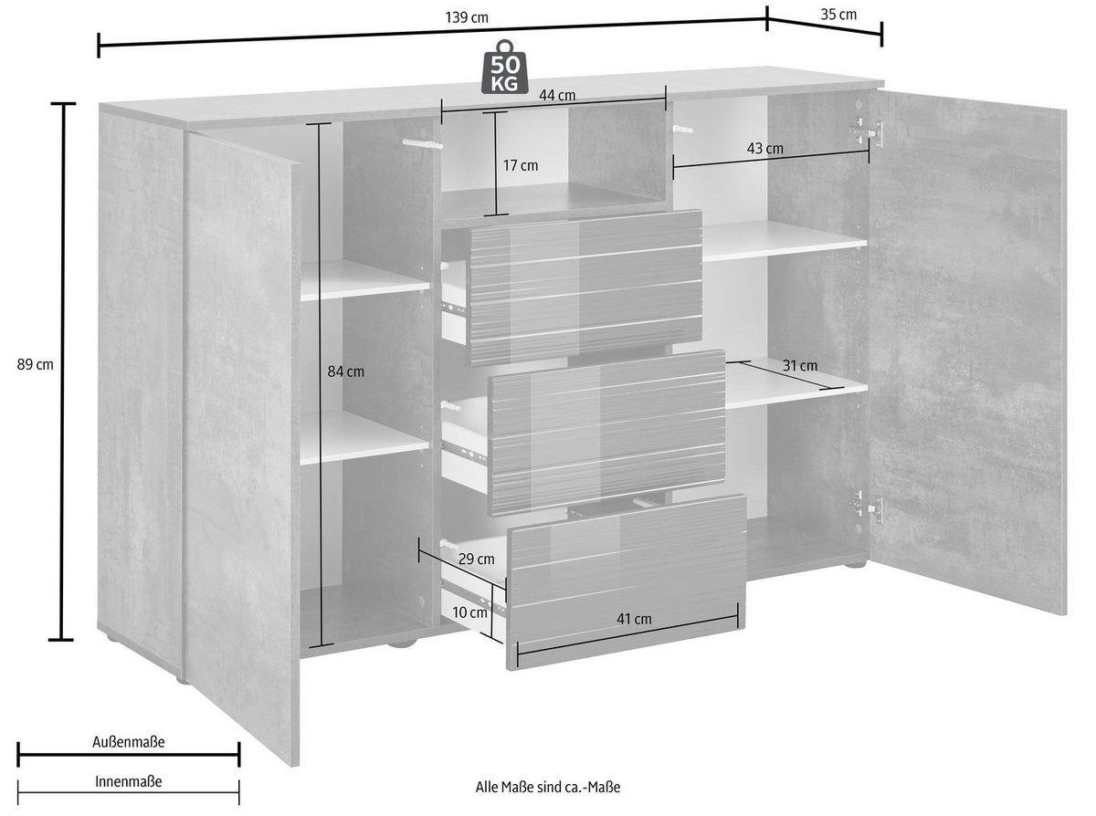 Highboard Savannah Breite 139 Cm Online Kaufen Otto Highboard Schliessfacher Kommode Modern
