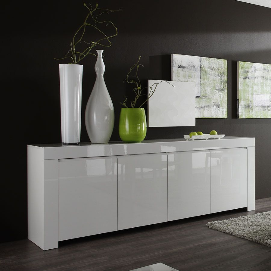 Buffet Bahut Blanc Laqu Design D Co Pinterest Bahut Design  # Meuble Living Blanc Laque Brillant