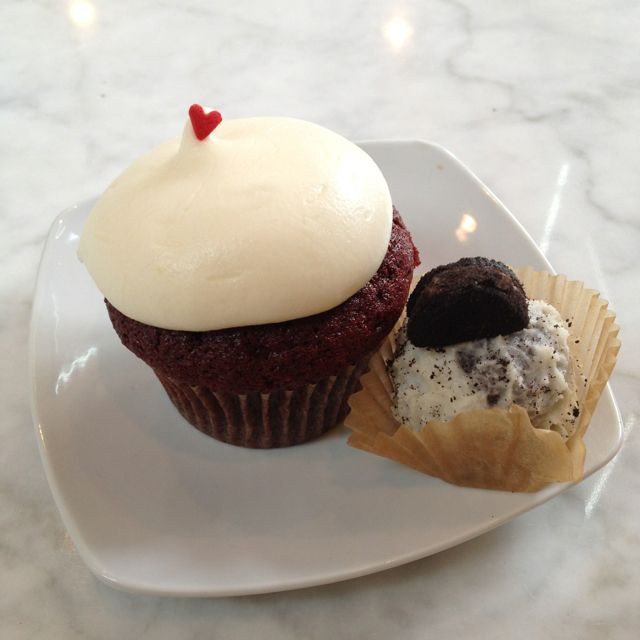 Red Velvet cupcake and Cookies and Cream cake ball. Sweet. Houston, TX