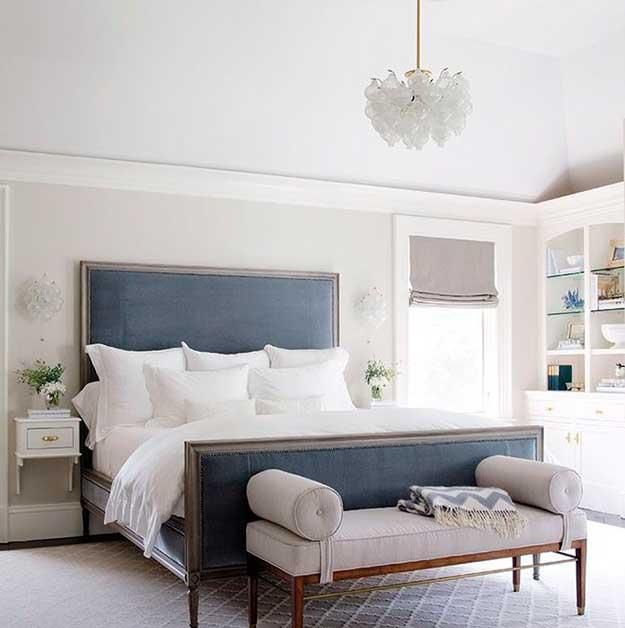 bed headboard upholstery in grayish blue