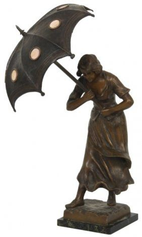 Figural Standing Lamp Sculpture W/ Umbrella