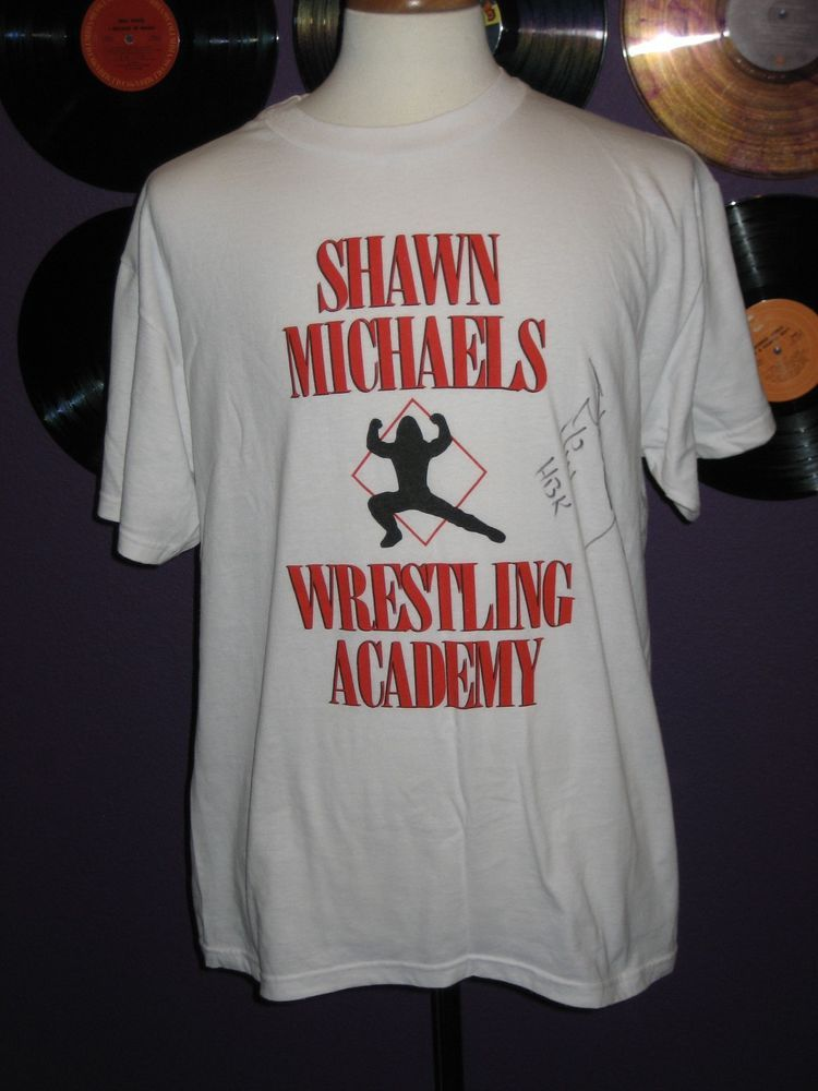 c1754e0f2 WWE Wrestling Men's HBK Shawn Michaels Wrestling Academy Signed Shirt L WWF  ECW