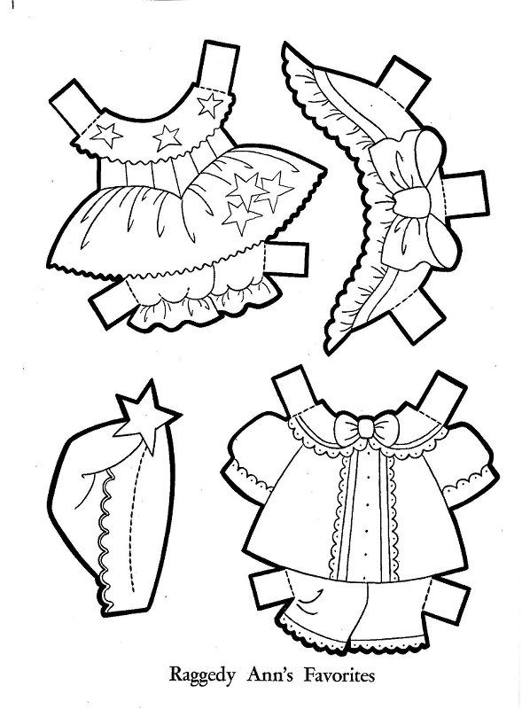 Raggedy Ann Paper Dolls-clothes | Felt doll patterns ...