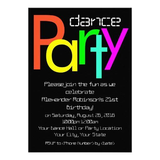 Futuristic Fun 5x7 Dance Party Invitation Dance Birthday party - fresh graduation invitation maker online free