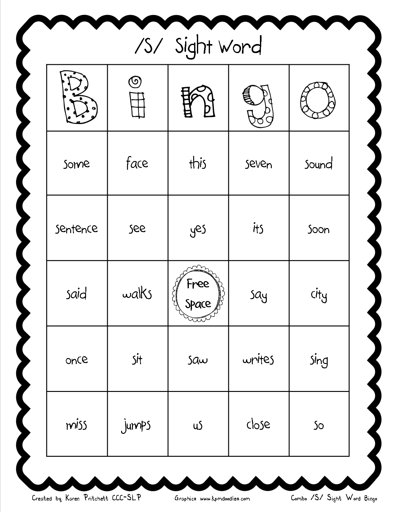 Speech Therapy Articulation Sight Words For S Homework