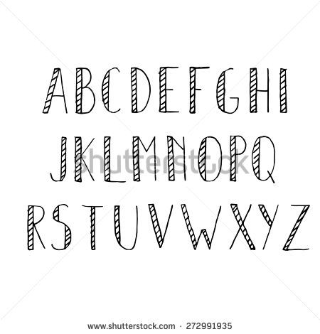 Hand Drawn Alphabet Set Pencil Texture Handwriting Font Vector Illustration