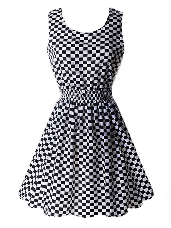 Fashion Women Sleeveless Retro Short Sundress Floral Plaid Stripe Dress #shortsundress