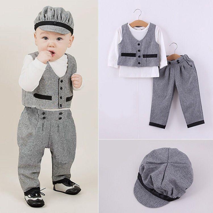 4 unids   0 - 7 T   2015 banda de primavera boys que arropa otoño caballero  del chaleco + camiseta + Hat + Pants niños coreanos ropa los bebés se  adaptan ... 8c955da1705c