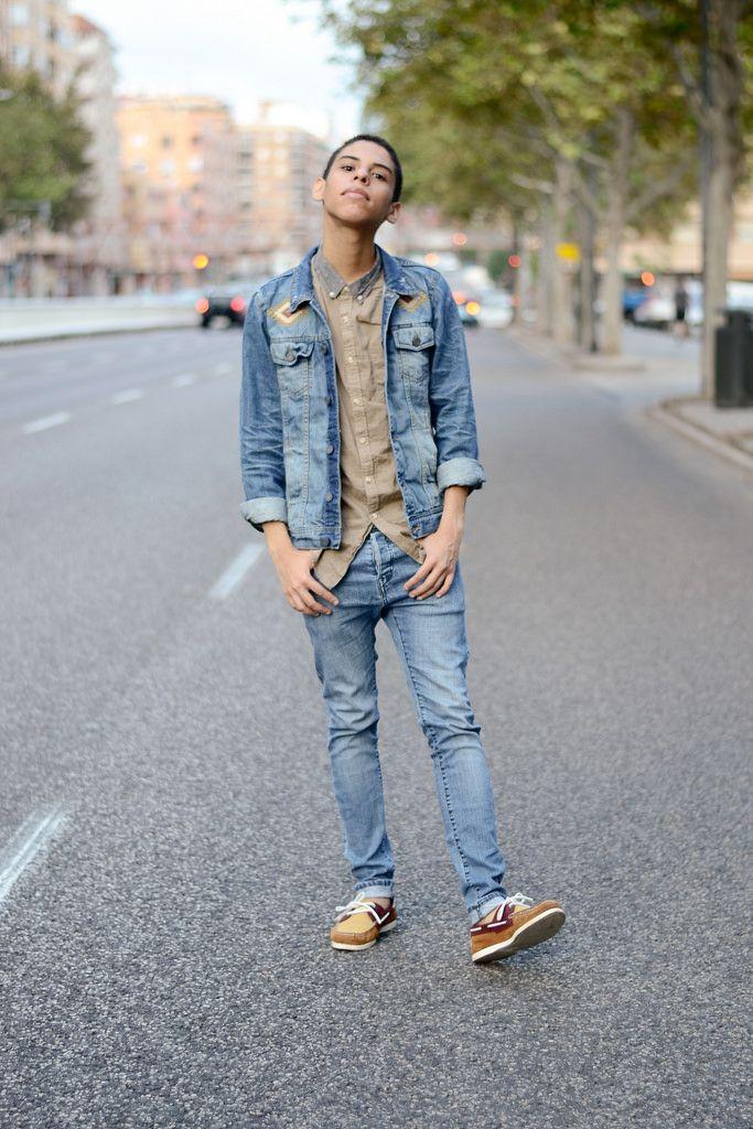 Mens Blue Denim Jacket, Tan Long Sleeve Shirt, Blue