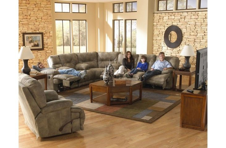 Voyager Brandy Power Reclining Raf Sectional Sectional Living Room Sets Reclining Sectional