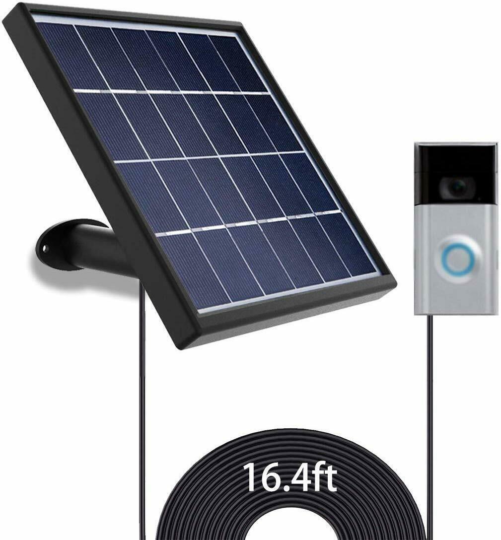Solar Panel For Ring Video Doorbell 1 2 Waterproof Charge 5 V 3 2w Max Output In 2020 Ring Video Doorbell Video Doorbell Solar Panels