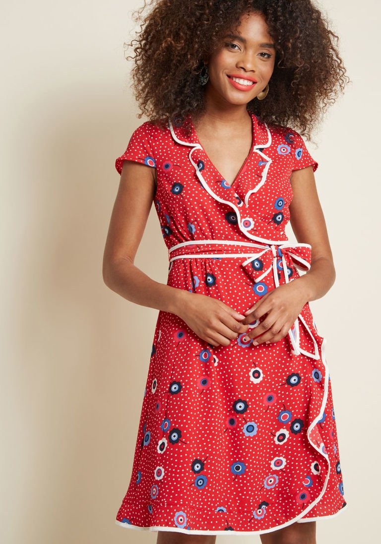 Daytime dapper wrap dress in red in x cap knee length by modcloth