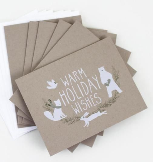 Pick up these cute woodland creature cards to send your holiday wishes! $15