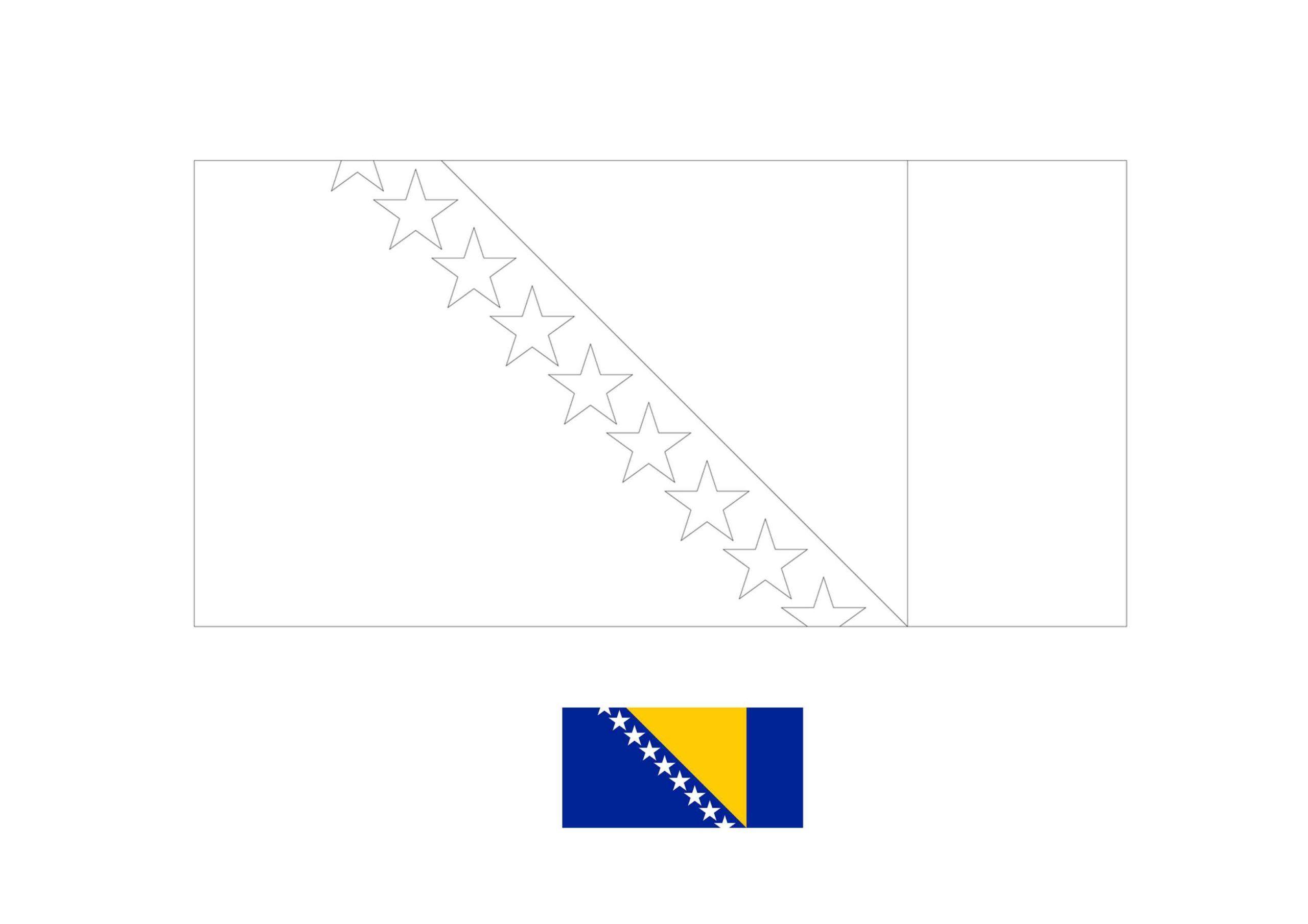 Bosnia And Herzegovina Flag Coloring Page Flag Coloring Pages Coloring Pages Herzegovina Flag