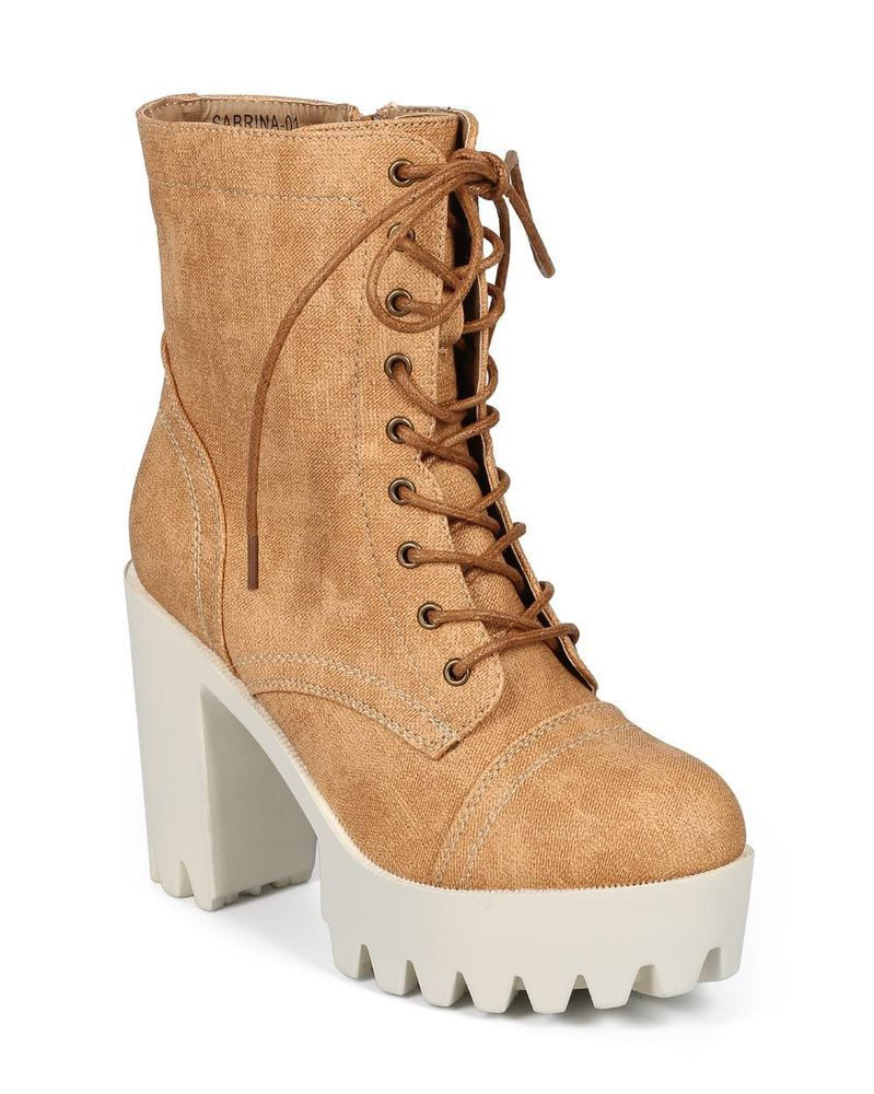 629ade450afab New Women Refresh Sabrina-01 Leatherette Denim Lug Sole Platform Combat  Boot #Refresh #LaceUps