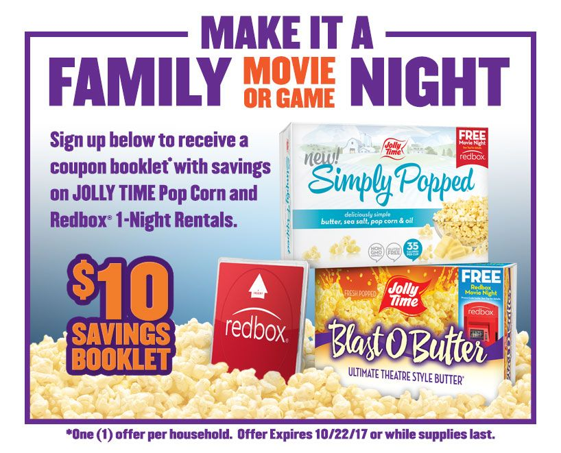 Hot Free Jolly Time Poptoberfest Mailed High Value Coupon Booklet Contains 10 In High Value Popcorn And Redbox Coup Jolly Time Popcorn Redbox Family Movies