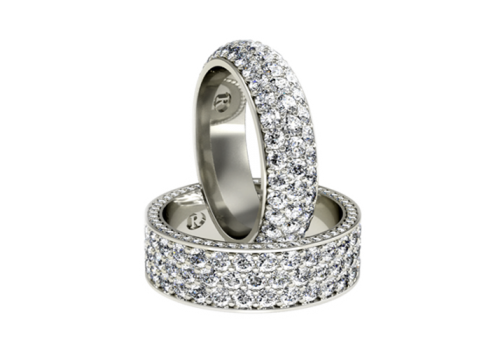 Pave' set wedding rings. Renato jewellers