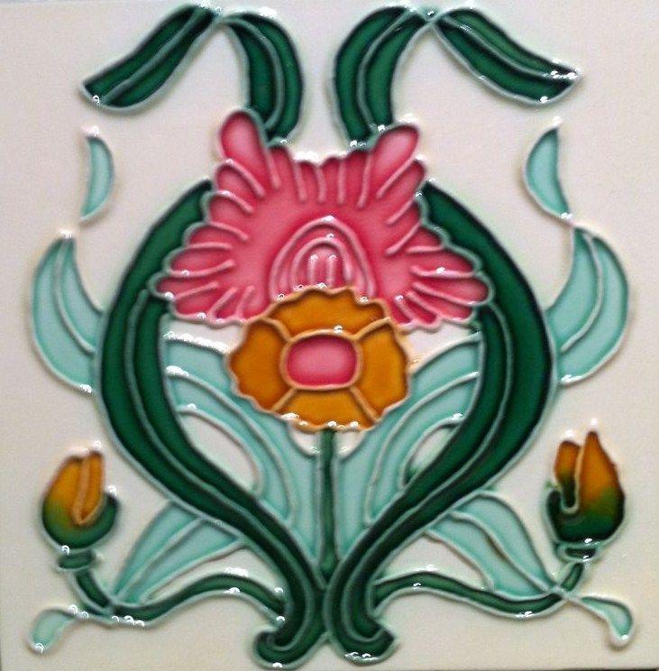 'Art Nouveau Majolica Ceramic Tile'