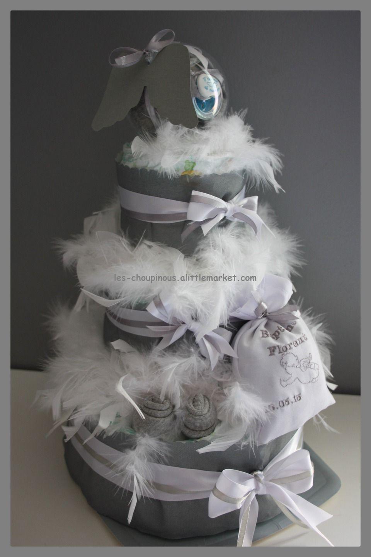 Fabuleux Cadeau original naissance baptême gâteau de couches garçon anges  FO97
