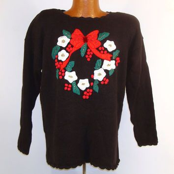 Ugly Christmas Sweater Vintage 1980s Wreath