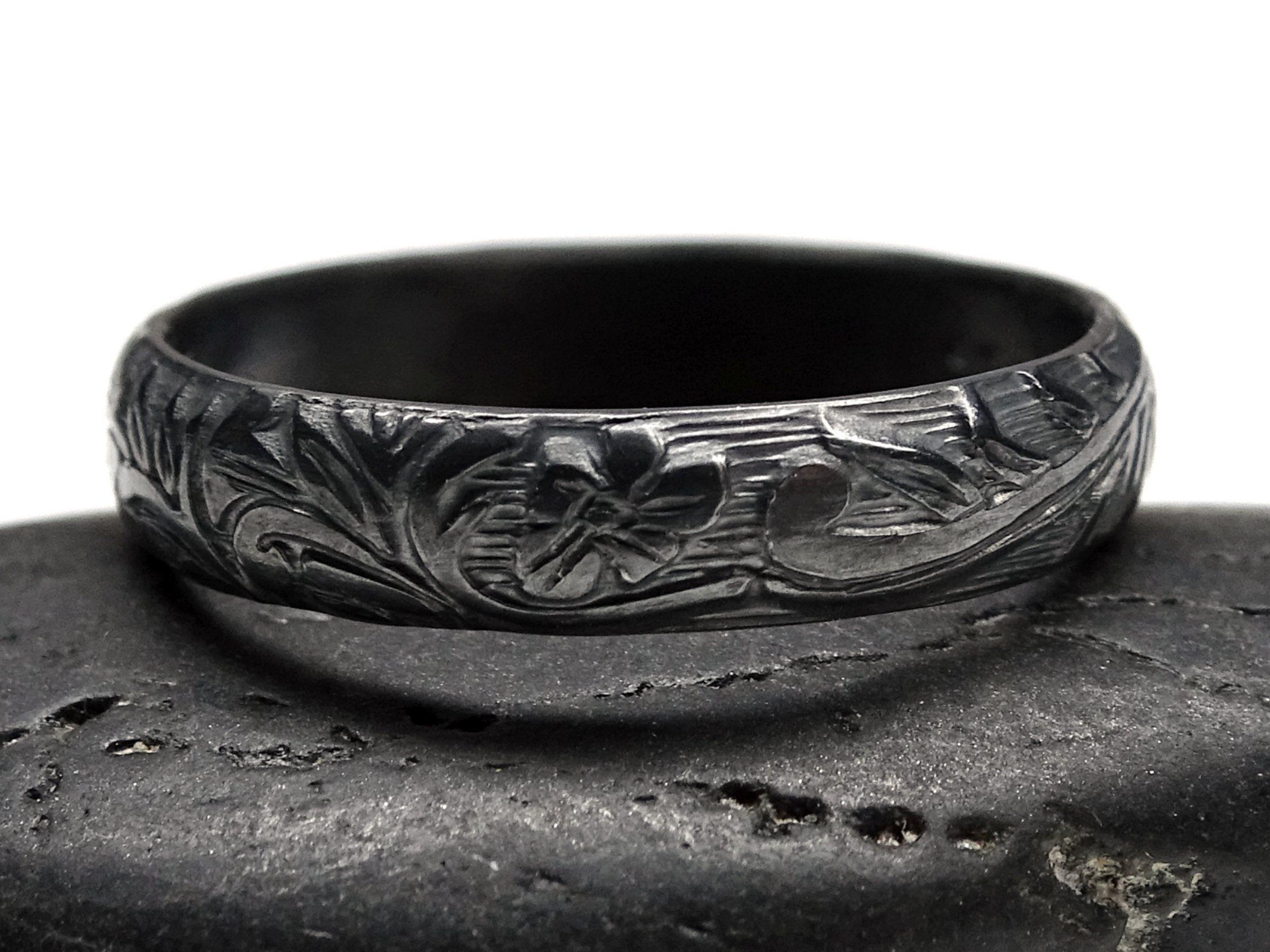 medieval wedding band silver flower ring pagan wedding ...