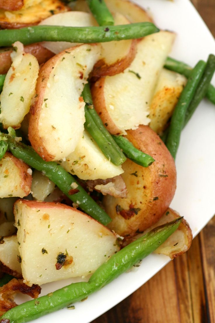 Garlic Herb Roasted Potatoes And Green Beans An Easy